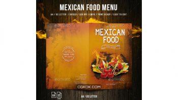 دانلود فایل لایه باز 2 لت منو غذای مکزیکی Mexican A4 and US Letter Food Menu