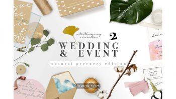 دانلود جعبه ابزار ساخت موکاپ کارت عروسی Natural Greenery Wedding Paper Set
