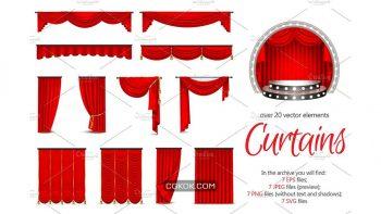 دانلود تصاویر وکتور پرده Realistic Curtains Set