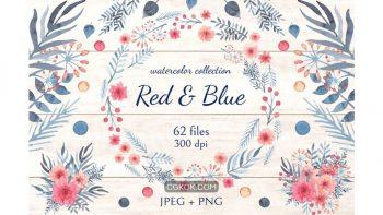 دانلود کلیپ آرت گل Red and Blue