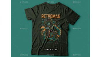دانلود وکتور تیشرت Retroman T-Shirt Design