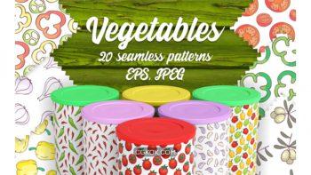 دانلود وکتور پترن سبزیجات Seamless Vegetables Themed Patterns