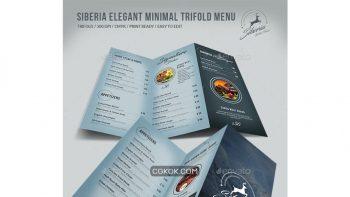 دانلود فایل لایه باز 3 لت منو غذا Siberia Elegant Minimal Trifold Menu
