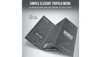 دانلود فایل لایه باز 3 لت منو غذا Simple Elegant Trifold Menu – 2 Color Version