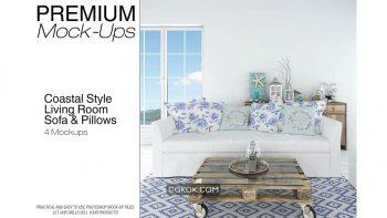 دانلود موکاپ ست مبلمان و کوسن Sofa & Pillows Set – Coastal Style