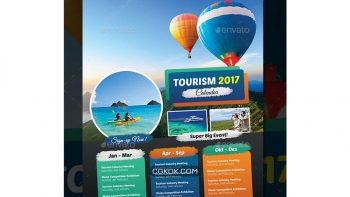 دانلود فایل لایه باز تراکت آژانس گردشگری Tourism Events Calendar Flyer Template