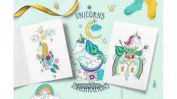 دانلود وکتور و کلیپ آرت اسب تک شاخ Unicorns Illustrations