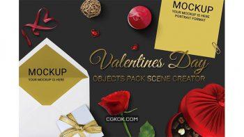 دانلود جعبه ابزار ساخت موکاپ ولنتاین Valentines Day Scene Creator MockUp