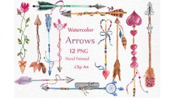 دانلود کلیپ آرت فلش های فانتزی Watercolor Arrows Clipart