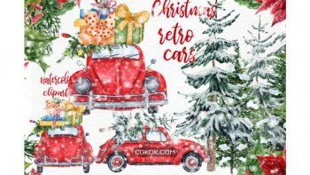 دانلود کلیپ آرت آبرنگی ماشین کریسمس Watercolor Christmas Cars Clipart