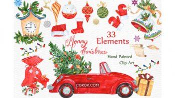دانلود کلیپ آرت آبرنگی کریسمس Watercolor Christmas Clipart