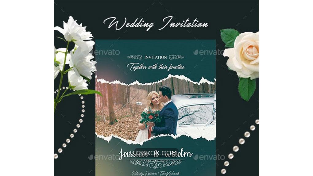 فایل لایه باز کارت دعوت عروسی Wedding Invitation Card